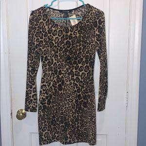 Leopard long sleeve body con mini